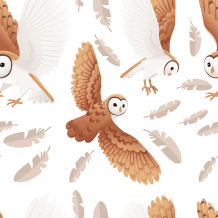 Seamless pattern of cute barn owl (tyto alba) with white face and brown wings cartoon wild forest bird animal design flat vector illustration on white background with feathers. 向量圖像