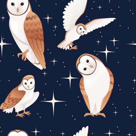 Seamless pattern of cute barn owl (tyto alba) with white face and brown wings cartoon wild forest bird animal design flat vector illustration on dark night background with glittering stars.