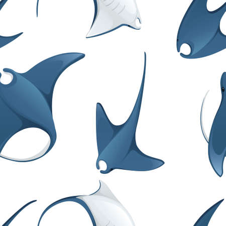 Seamless pattern of manta ray underwater giant animal with wings simple cartoon character design flat vector illustration on white background.
