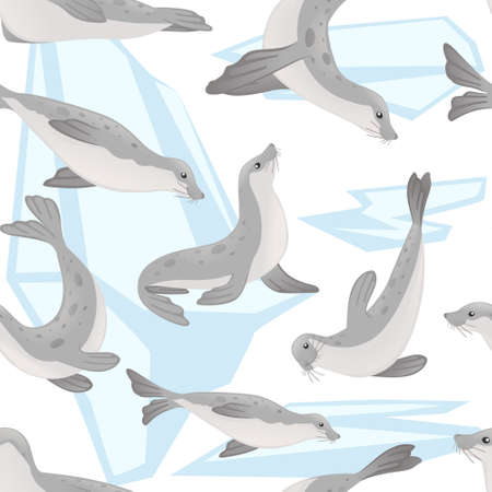 Seamless pattern of cute seal cartoon animal design flat vector illustration on white background with iceberg. Illustration