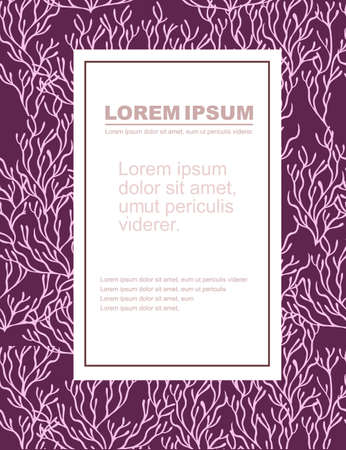 Advertising flyer or greetings card design with pink coral seaweeds silhouettes flat vector illustration on purple background.