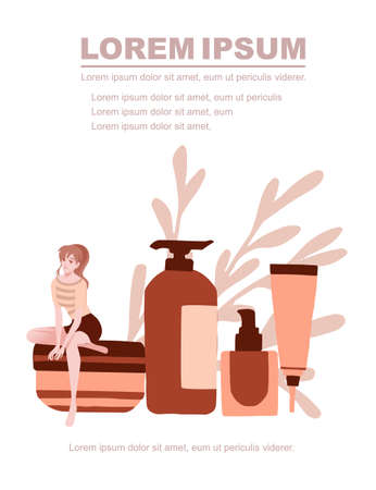 Advertising flyer or greetings card design with natural organic cosmetics in plastic packages girls sit on cosmetics flat vector illustration on white background with green leaves,