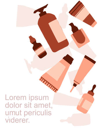 Advertising flyer or greetings card design with icons natural organic cosmetics in plastic packages flat vector illustration on white background. Иллюстрация