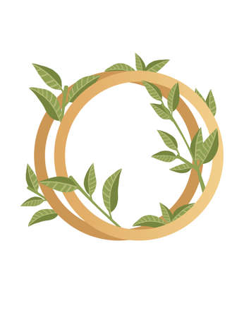 Letter O with gradient style beige color covered with green leaves eco font flat vector illustration isolated on white background.