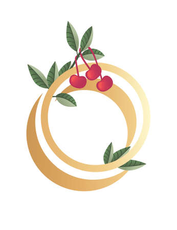 Letter O with gradient style beige color covered with green leaves and red berries eco font flat vector illustration isolated on white background.