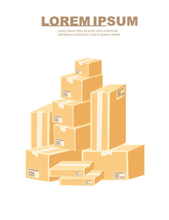 Stack of different parcel packaging box set cardboard material flat vector illustration of white background.