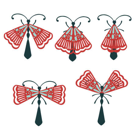 Set of simple flat beetle with different wings collection insects flat vector illustration isolated on white background. Illusztráció