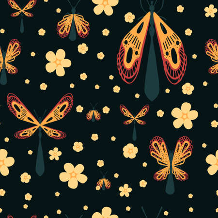 Seamless pattern of cartoon simple beetle collection colored insects flat vector illustration on dark background with flowers. Illusztráció