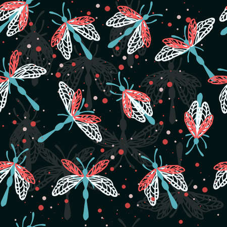 Seamless pattern of cartoon simple beetle collection colored insects flat vector illustration on dark background.