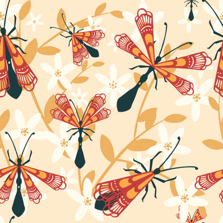 Seamless pattern of cartoon simple beetle collection colored insects flat vector illustration on beige background with leaves. Illusztráció