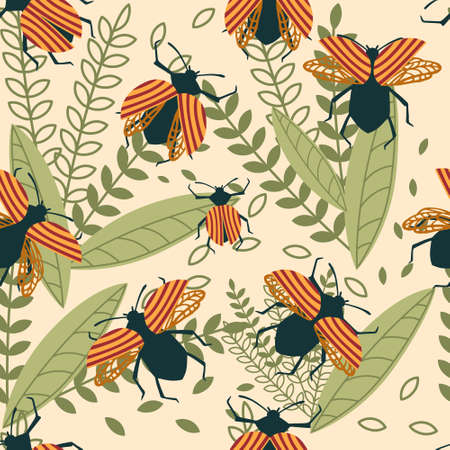 Seamless pattern of cartoon simple beetle collection colored insects flat vector illustration on beige background with leaves.