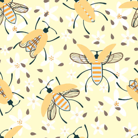 Seamless pattern of cartoon simple beetle collection colored insects flat vector illustration on yellow background. Illusztráció