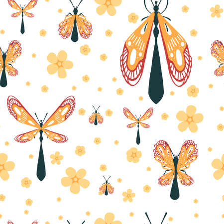Seamless pattern of cartoon simple beetle collection colored insects flat vector illustration on white background with flowers.