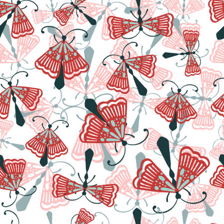 Seamless pattern of cartoon simple beetle collection colored insects flat vector illustration on white background.