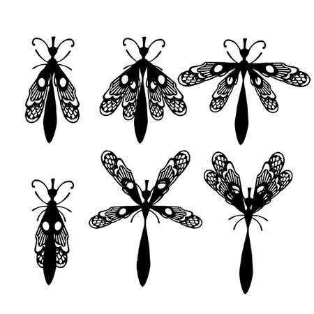 Set of simple flat dragonfly with different wings collection insects flat vector illustration isolated on white background. Illusztráció
