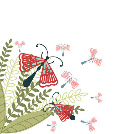 Pattern with simple flat beetle with different wings insects on green leaves and grass flat vector illustration on white background.