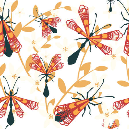 Seamless pattern of cartoon simple beetle collection colored insects flat vector illustration on white background with leaves. Illusztráció