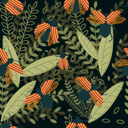 Seamless pattern of cartoon simple beetle collection colored insects flat vector illustration on dark background with leaves. Illusztráció