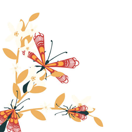 Pattern with simple flat beetle with different wings insects on orange silhouette leaves and grass flat vector illustration on white background.