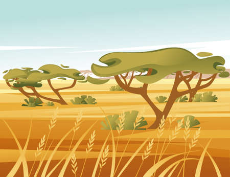 Landscape savanna background with clear sky yellow grass and green tree flat vector illustration cartoon style.