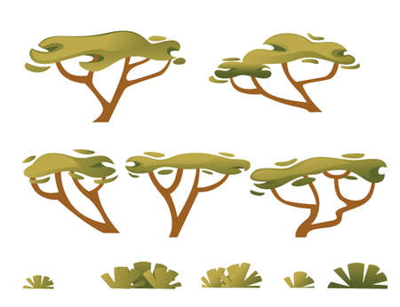 Set of green savanna flora plants trees grass and bushes flat vector illustration isolated on white background. Ilustracja