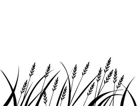Black silhouette african savanna grass flat vector illustration on white background.