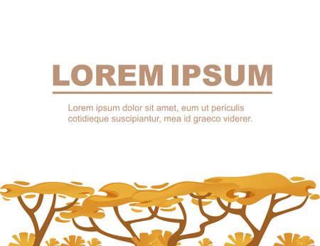 Advertising flyer design with yellow savanna flora plants flat vector illustration on white background. Ilustracja