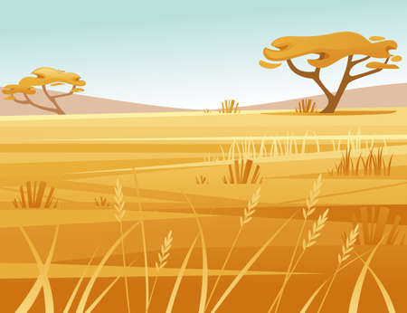 Landscape savanna background with clear sky yellow grass and tree flat vector illustration cartoon style.