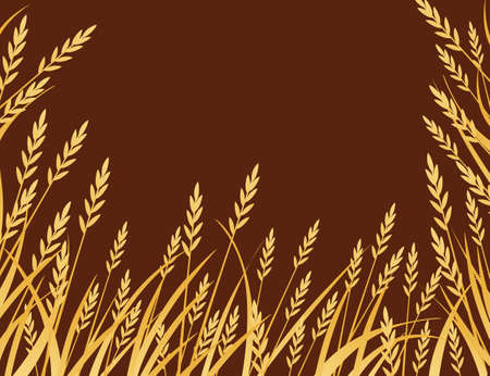 Yellow african savanna grass flat vector illustration on brown background.