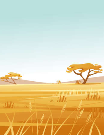 Landscape savanna background with clear sky yellow grass and tree flat vector illustration cartoon style vertical design.