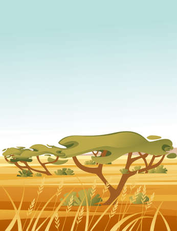 Landscape savanna background with clear sky yellow grass and green tree flat vector illustration cartoon style vertical design.