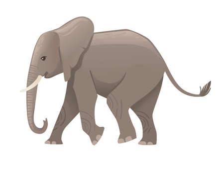 Cute adult elephant on the walk cartoon animal design flat vector illustration isolated on white background.  イラスト・ベクター素材