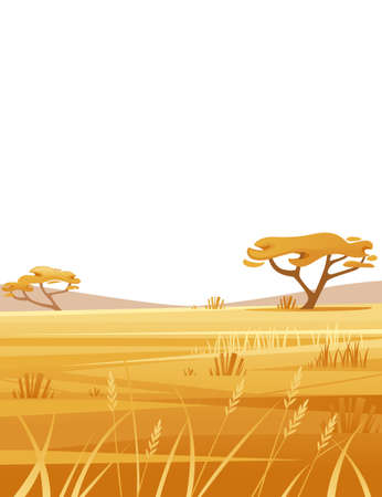 Landscape savanna on white background with yellow grass and tree flat vector illustration cartoon style vertical design. Ilustracja
