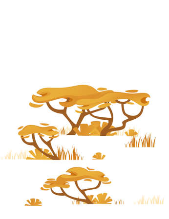Set of yellow savanna flora plants trees grass and bushes flat vector illustration isolated on white background.