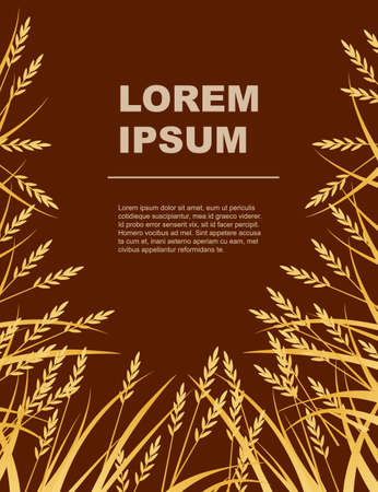 Advertising flyer design with yellow african savanna grass flat vector illustration on brown background.