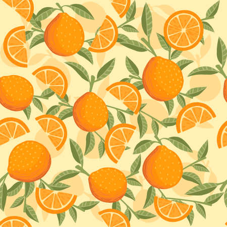 Seamless pattern of orange citrus yellow fruit whole halved and sliced with green leaves flat vector illustration on beige background. Ilustración de vector