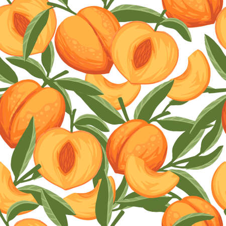 Seamless pattern of peach whole and sliced with green leaves flat vector illustration on white background. 向量圖像