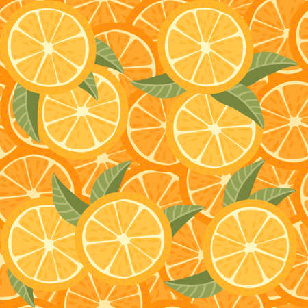 Seamless pattern of orange citrus fruit halved and sliced with green leaves flat vector illustration.