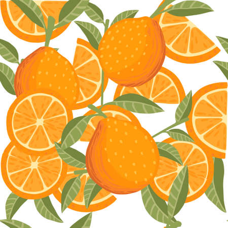 Seamless pattern of orange citrus yellow fruit whole halved and sliced with green leaves flat vector illustration on white background.