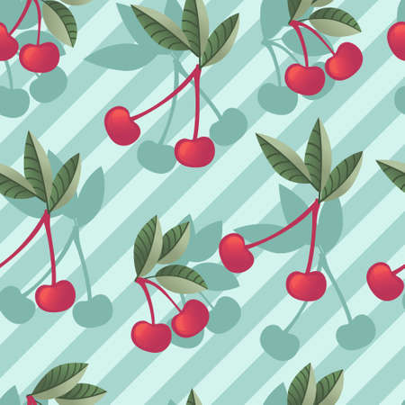 Seamless pattern of red cherry berry on tree branches with green leaves flat vector illustration on blue striped background.
