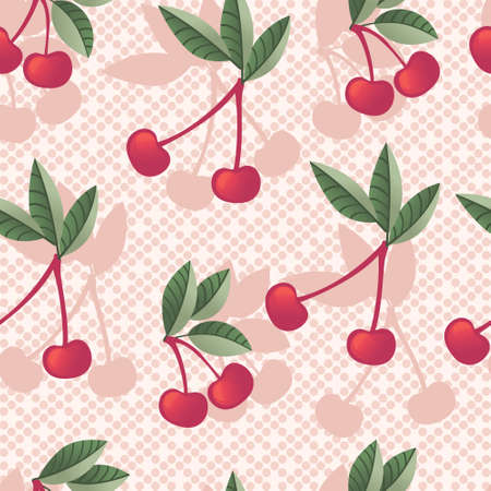 Seamless pattern of red cherry berry on tree branches with green leaves flat vector illustration on pink dotted background.