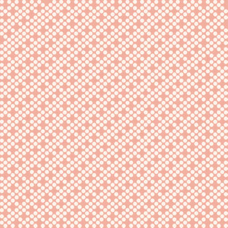 Seamless pattern of white dots on pink background flat vector illustration.