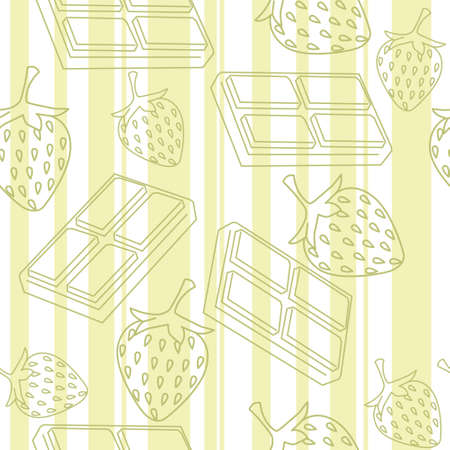 Seamless pattern of chocolate bars and strawberries flat vector illustration on green and white striped background outline style. 向量圖像