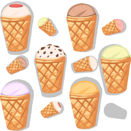 Seamless pattern of ice cream flavors in waffle cones with different color flat vector illustration on white background.
