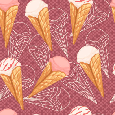 Seamless pattern of ice cream flavors in waffle cones with different color flat vector illustration on pink dotted background.