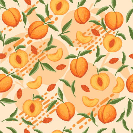 Seamless pattern of peach whole and sliced with green leaves flat vector illustration on beige background. 向量圖像