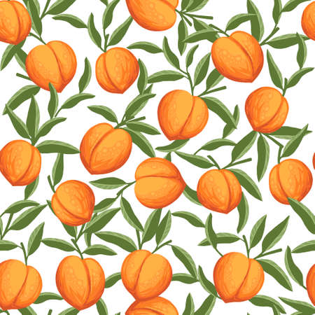 Seamless pattern of whole peaches with green leaves flat vector illustration on white background.