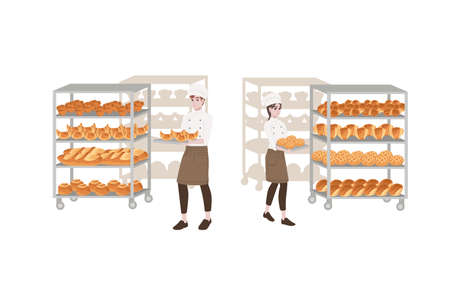 Bakery manufacturer male and female chef cook with baking tray and bread tray professional bakery cartoon character design flat vector illustration isolated on white background. Vettoriali