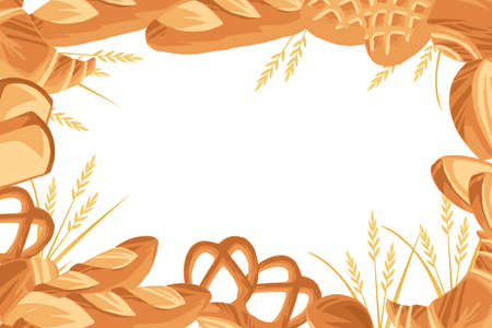 Bakery pattern with different breads flat vector illustration in white background.