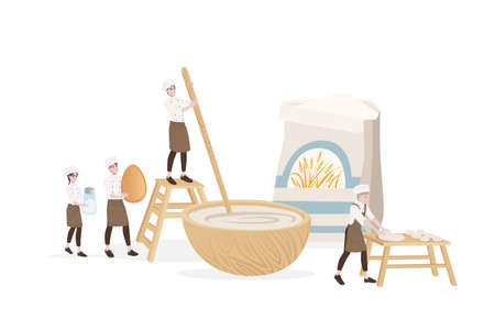 Bakery manufacturer male and female chef cooking use wooden table and bowl for dough professional bakery cartoon character design flat vector illustration on white background.